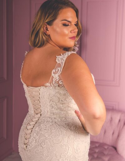 classic corset back lace plus size wedding gown