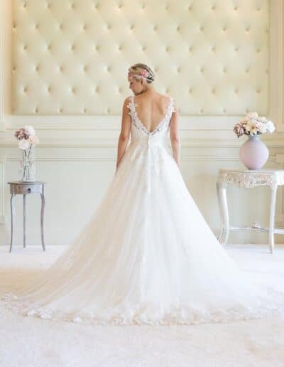 Victoria Kay low back wedding dress lace