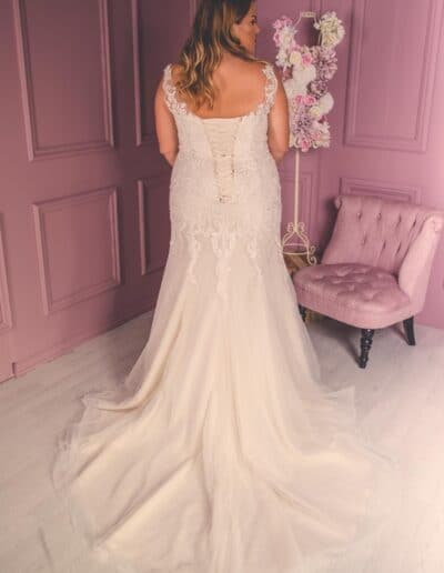 fit and flare plus size wedding gown