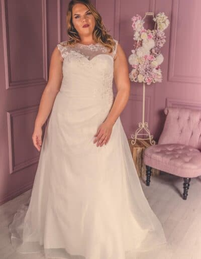 ruched a-line wedding gown