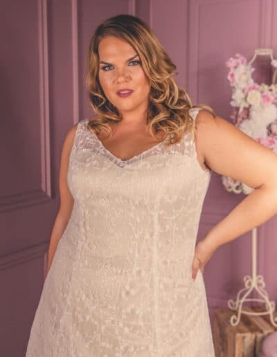 a-line plus size wedding gown
