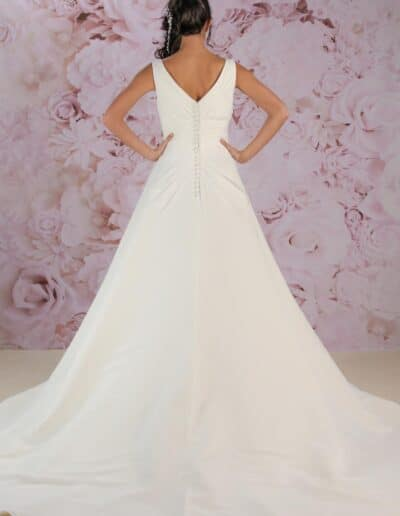 Victoria Kay a-line satin wedding gown