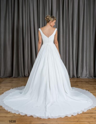 v back chiffon ballgown wedding dress